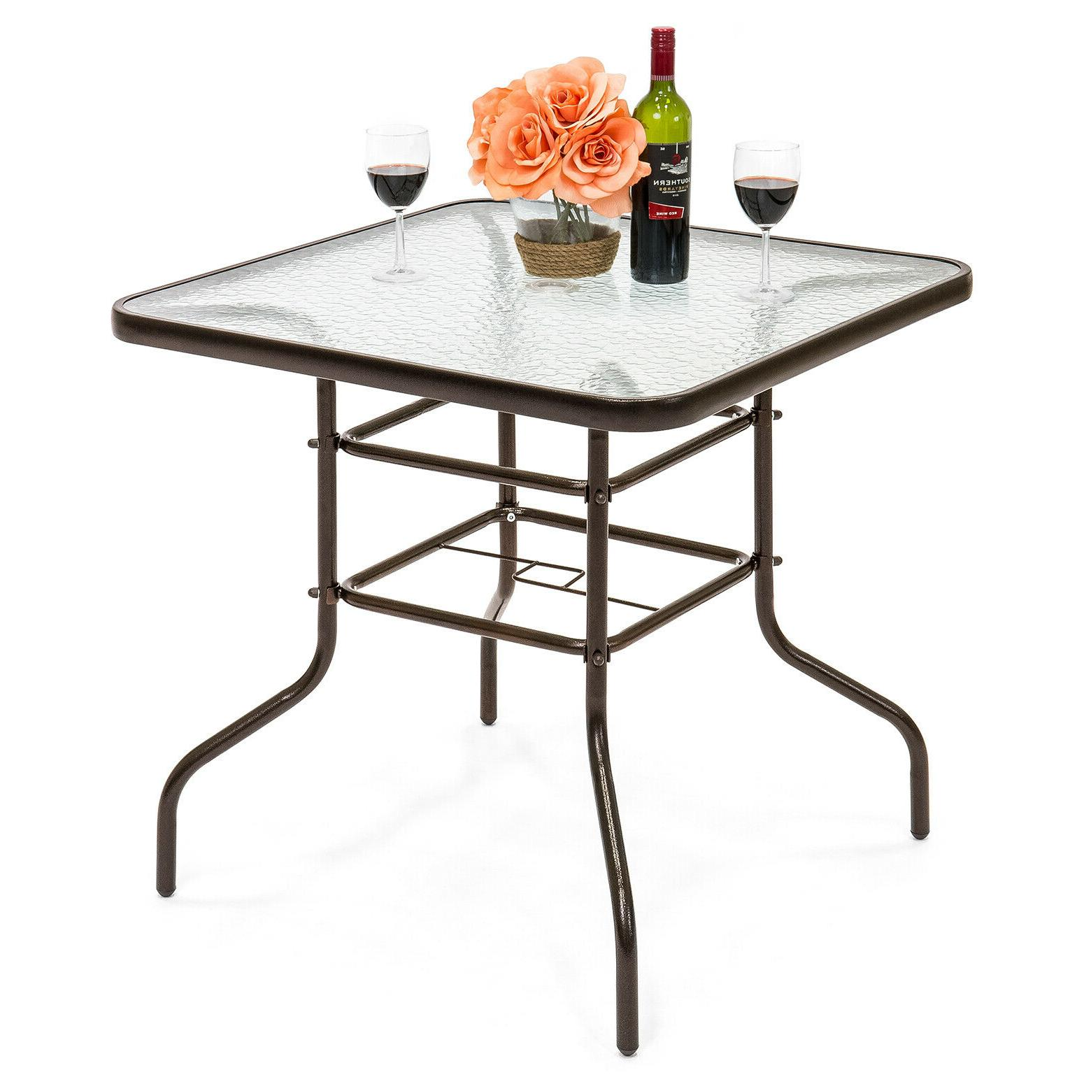 "Patio Dining Table 32"" x 32"" Square Tempered Glass Tabletop"