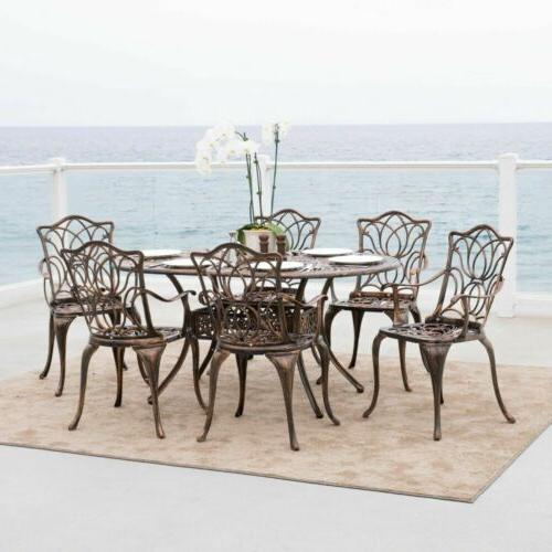 Outdoor Patio Furniture Antique Copper Cast Aluminum Dining
