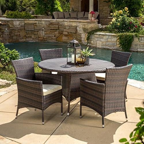 Outdoor Patio Furniture Multi-Brown Wicker Round Dining Set