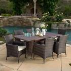 Outdoor Patio Furniture Multibrown Wicker Dining Set w/ Cus