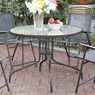 Patio Outdoor Garden Yard Round Dining Table Frosted Glass T