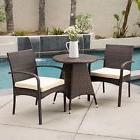 Outdoor Patio Multibrown All-Weather Wicker Round Bistro Se