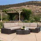 Outdoor Patio Furniture 6pcs Wicker Sectional Sofa Seating S