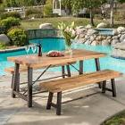 Picnic Dining Set Industrial Farmhouse Kitchen Wood 3-piece