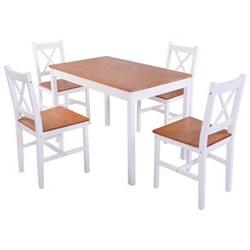 Costway 5PCS Pine Wood Dinette Dining Set Table and 4 Chairs