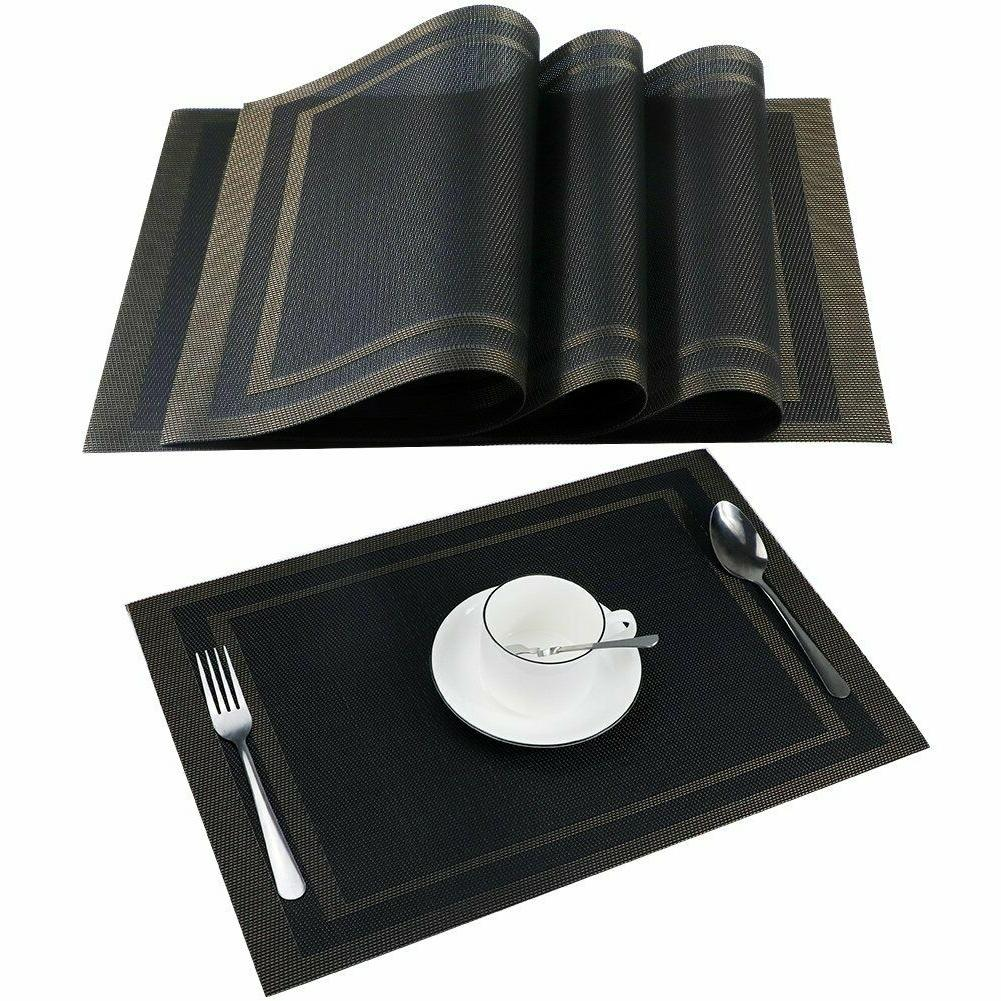 Placemats Set of Dining Vinyl Brown