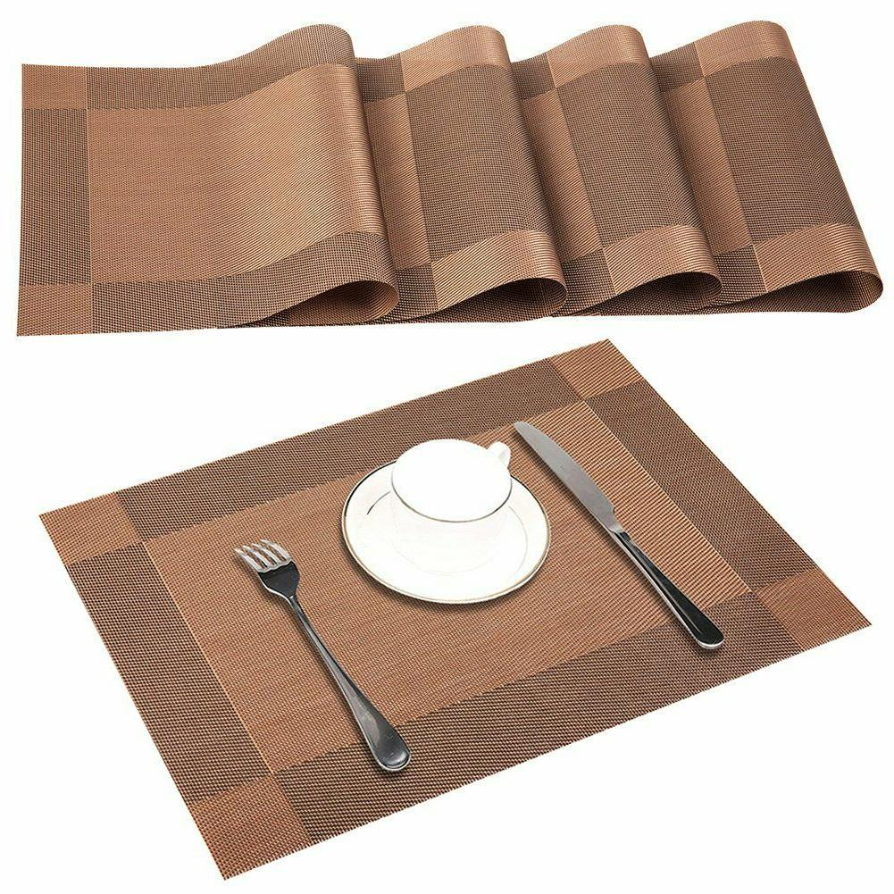 Placemats Dining Place Woven Vinyl Brown