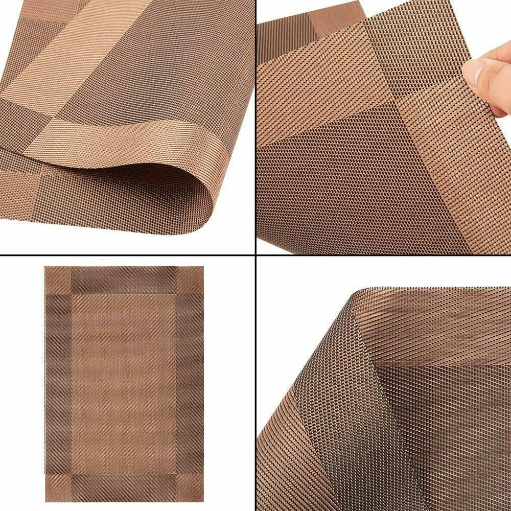 Placemats Dining Table Woven Vinyl Washable Brown