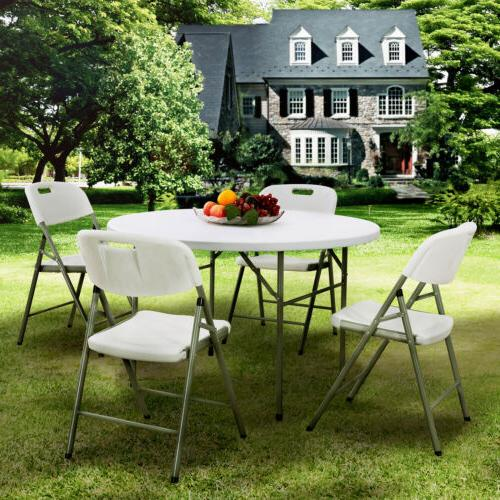 Portable Round Folding Table Dining Table and Chairs Set Out