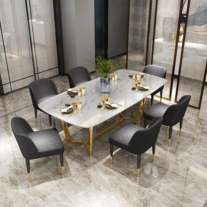 Post-modern luxury marble <font><b>dining</b></font> steel and chair rectangle