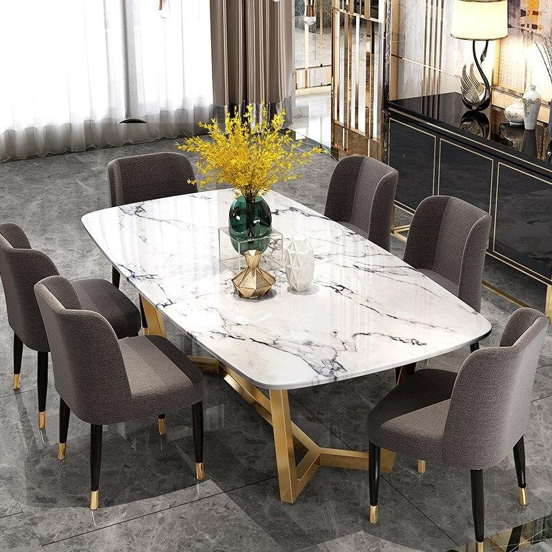Post-modern steel <font><b>dining</b></font> and chair rectangle <font><b>table</b></font>