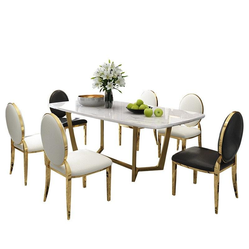 Post-modern luxury marble <font><b>dining</b></font> <font><b>Gold</b></font>-plated stainless steel <font><b>table</b></font> chair rectangle