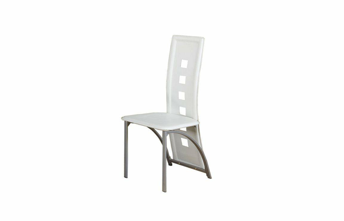 8248118f4a0d Poundex 2 Piece PU Dining Chair Set with Silver Arched Leg S