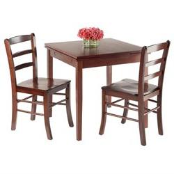 Winsome Pulman 3-Piece Set Extension Table and 2 Ladder Back