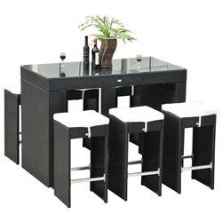 Outsunny 7pc Rattan Wicker Bar Stool Dining Table Set - Blac