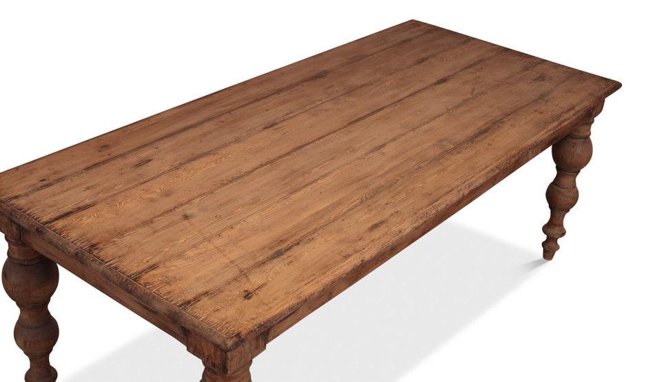 Reclaimed Pine Wood Rectangular Dining Table with Turned Legs