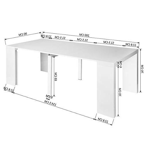 Homy Table Eiffel Mid Century Side Kitchen Table, High Gloss White