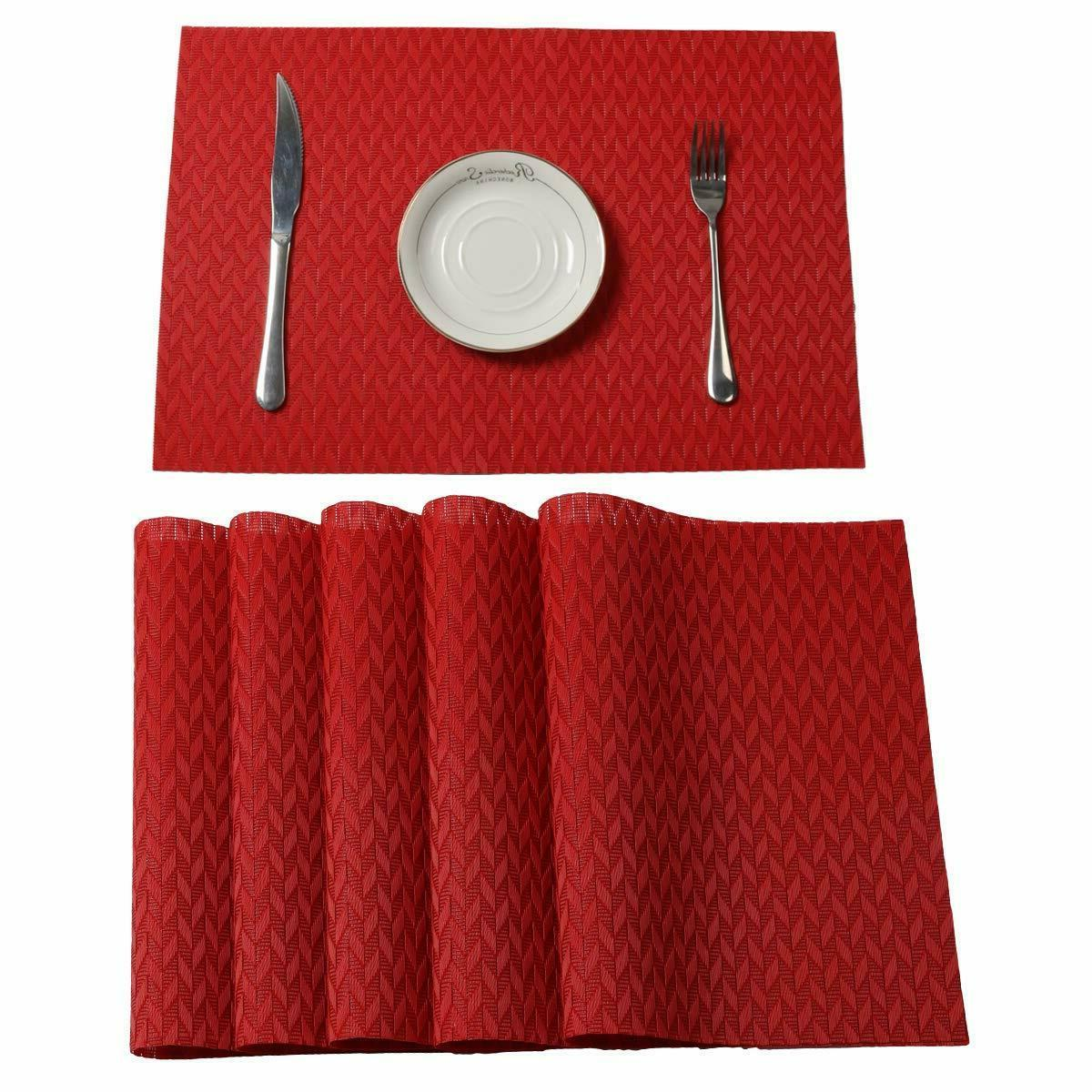 red set of 6 placemats dining table
