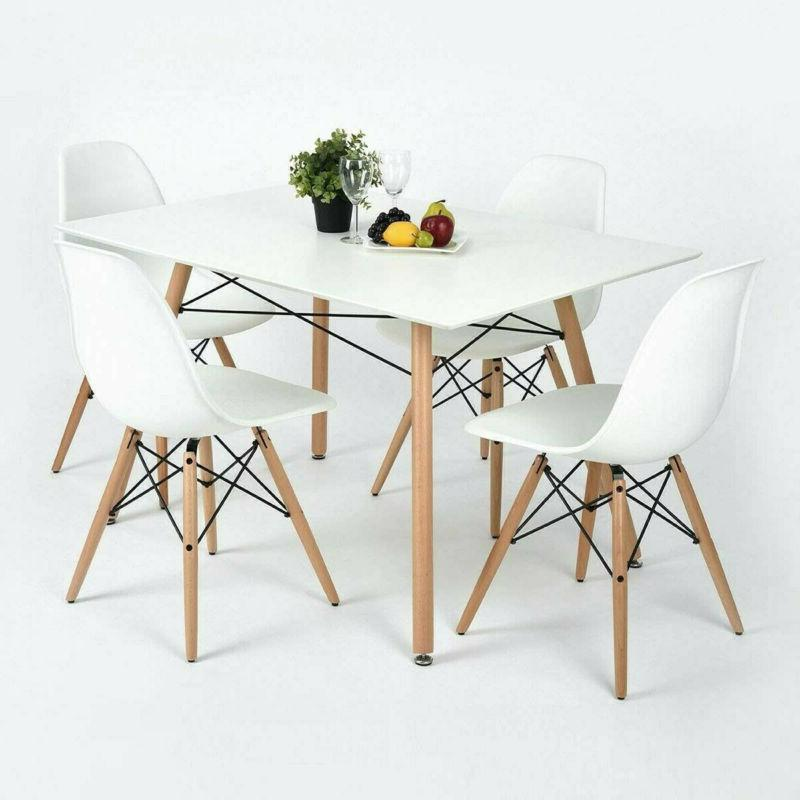5 Piece Dining Table Set White Wood and 4 Chairs Kitchen Din