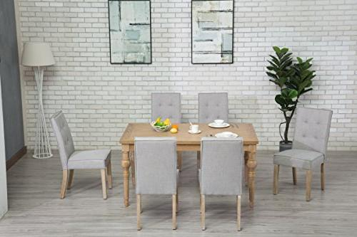 Oliver Smith Collection 7 Dining - and 6 Chairs Dinette Table Set Antique Washed Oak