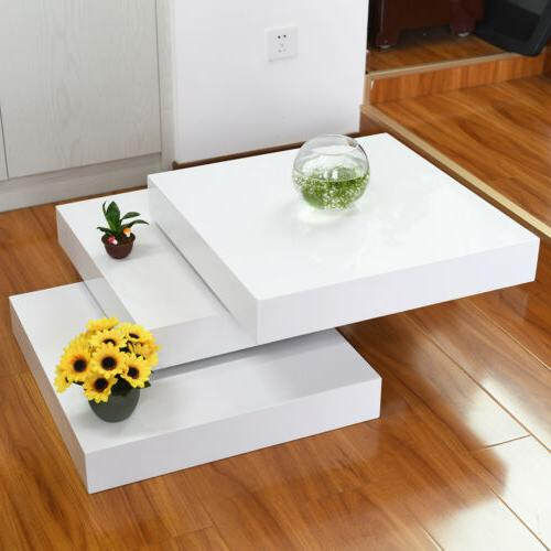 High Gloss Coffee Table 3 Layers Rotating Square Living Dini