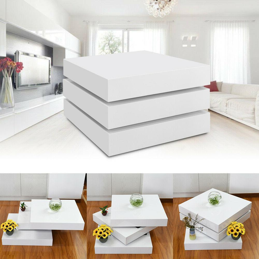 White Square Coffee Table Rotating Contemporary Modern Livin