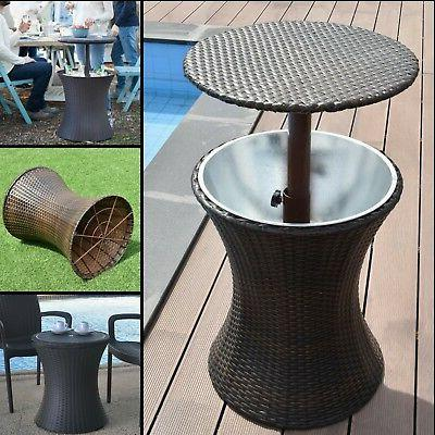 Round Bar Table Outdoor Patio Pub Bistro Furniture Dining Se