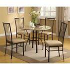 Round 5-Piece Dining Room Set with White Faux Marble Top Tab