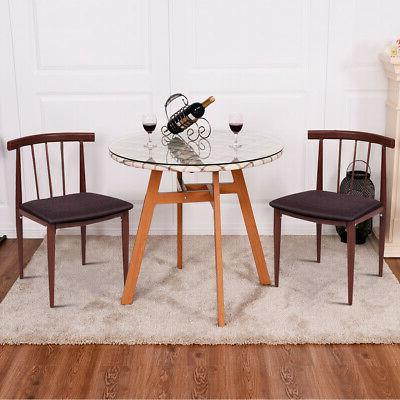 3Pcs Glass Top Round Table Dining Set with 2 Chairs Home Pat