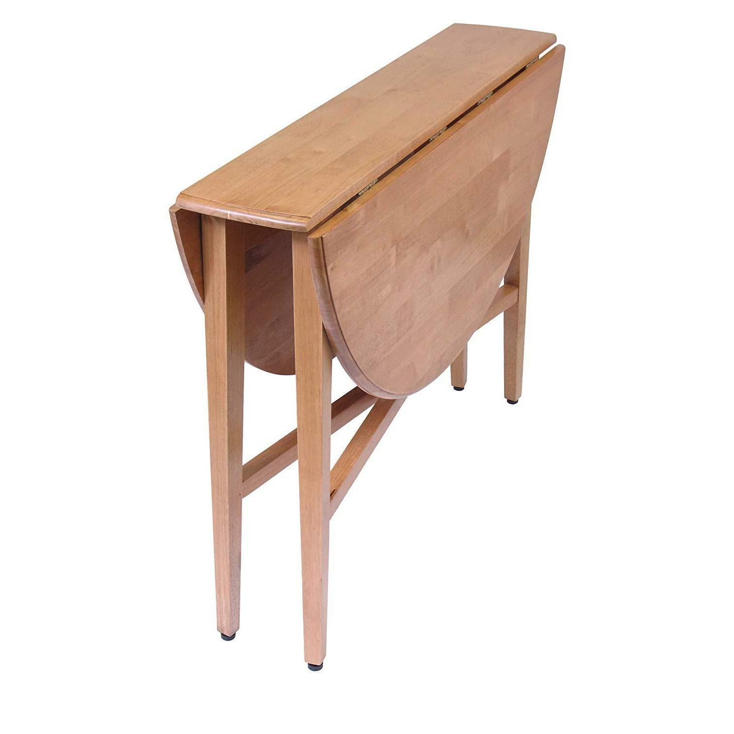 Round Drop Leaf Table Dining Kitchen Folding Compact Storage