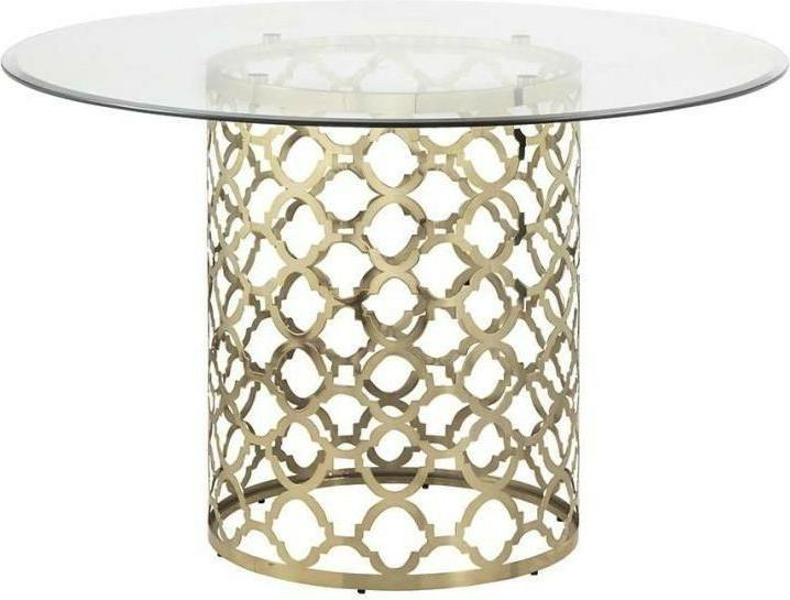 ROUND GOLD TABLE & OUT SET