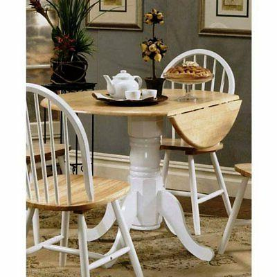 Round Wood Pedestal Drop Leaf Kitchen Dining Table in Natura