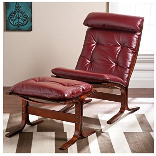 ruby red leather lounger chair