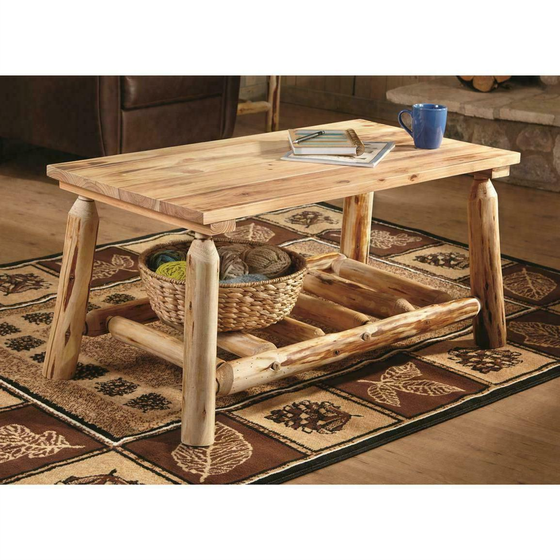 Rustic Natural Pine Log Coffee Table Premium Lacquer Finish