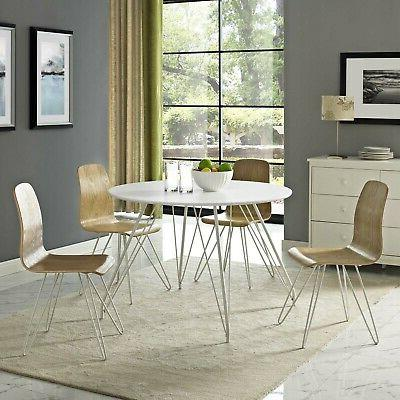 Modway Circular Dining Table With White EEI-2673-WHI-SET