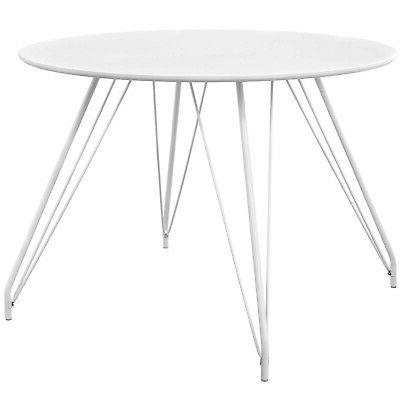 satellite circular dining table with white finish