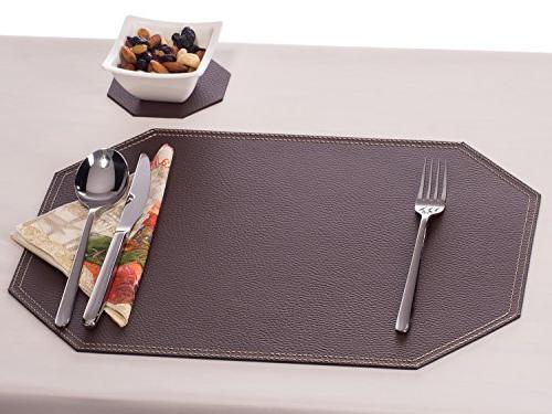 Brown Placemats and Coasters, and 4 Place mats 18'' 13'' and 3.94'', Recycled Table Europe