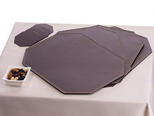 Nikalaz of Brown Coasters, 4 Table Mats and 4 Coasters, mats 18'' x 13'' and Coasters 3.94'' 3.94'', Recycled Dining Table Set Made in Europe
