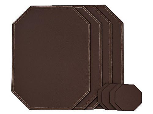 set brown octagon placemats coasters