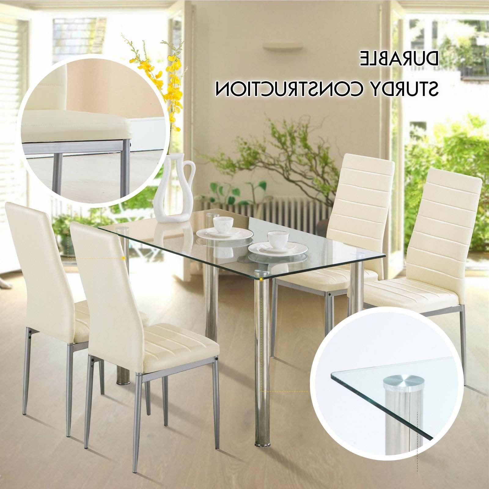 Set of 4 Chairs Leather Design+ Table Home