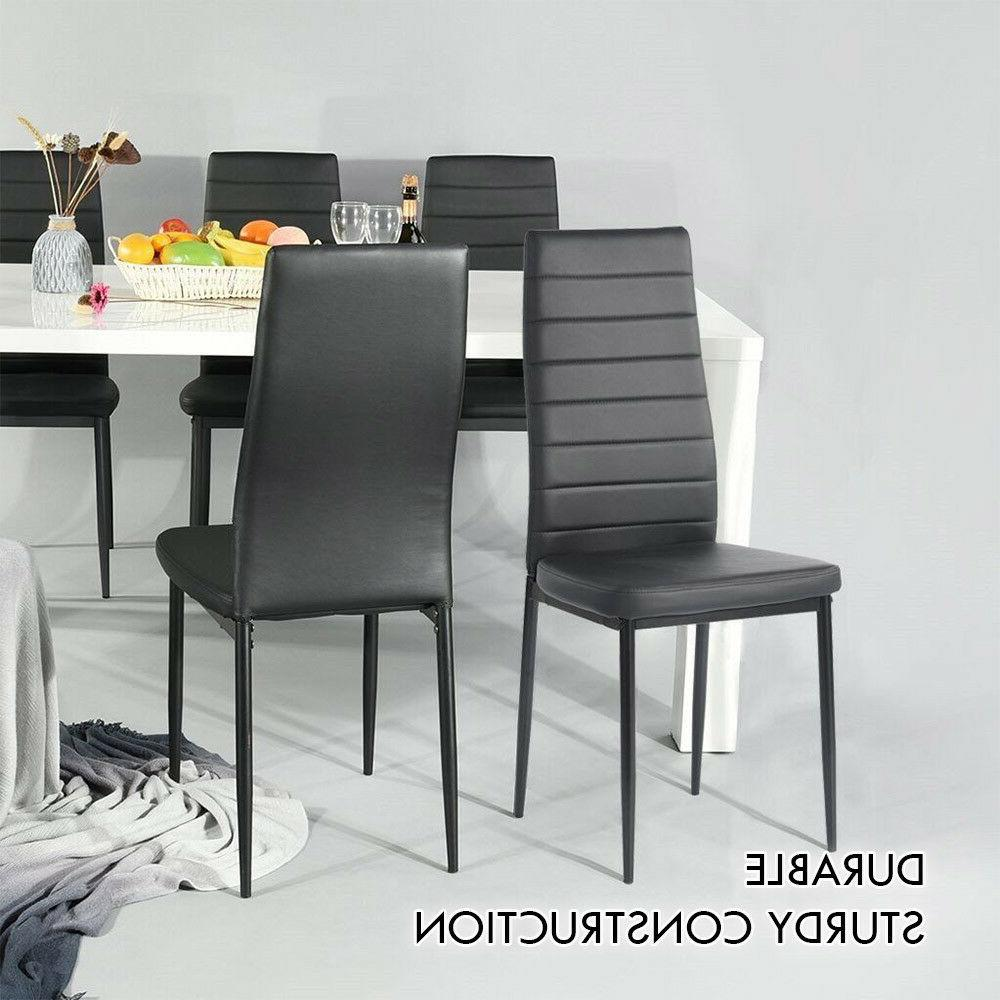 Set 4 Chairs PU Leather Design+ Glass Top Table Home