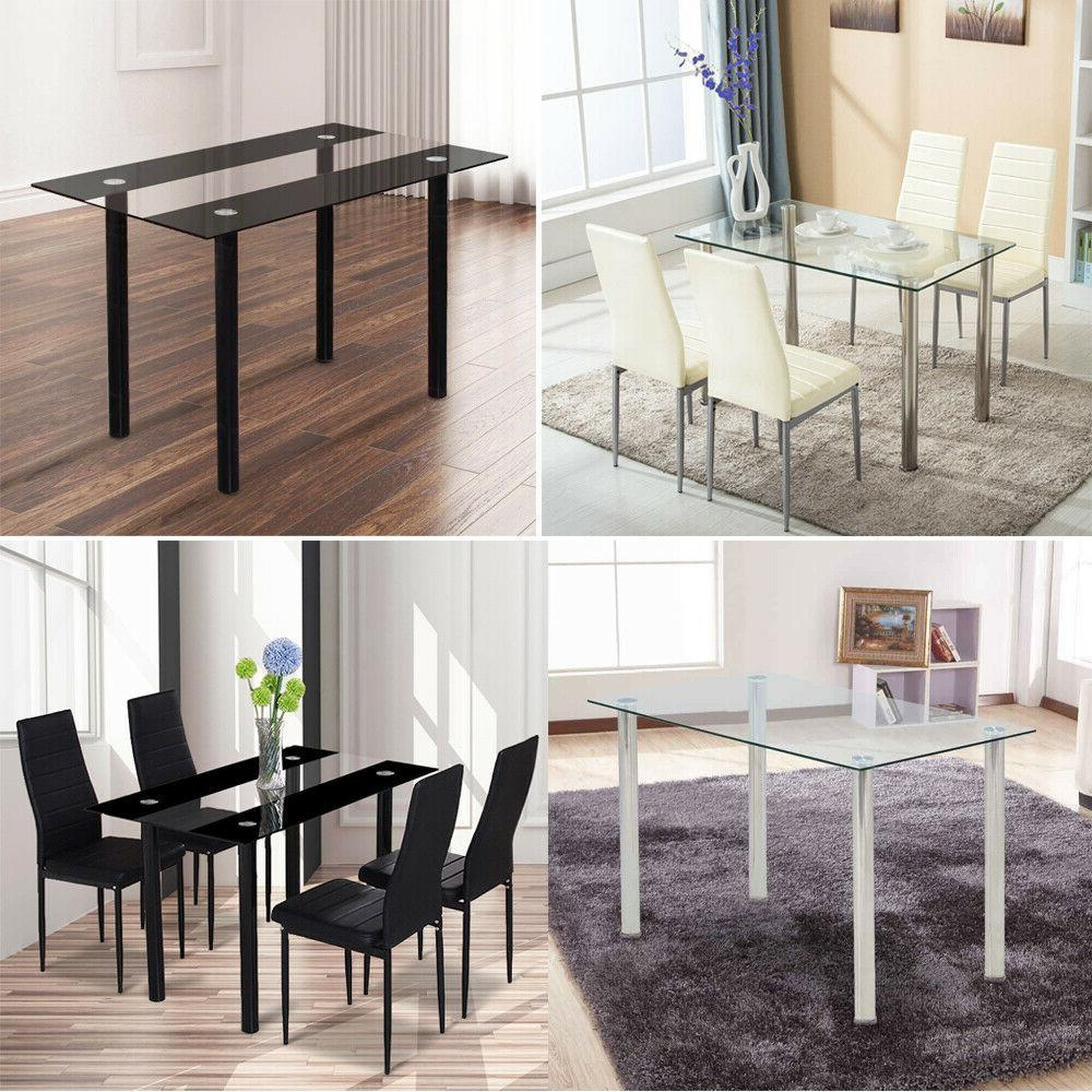 set of 4 dining chairs pu leather
