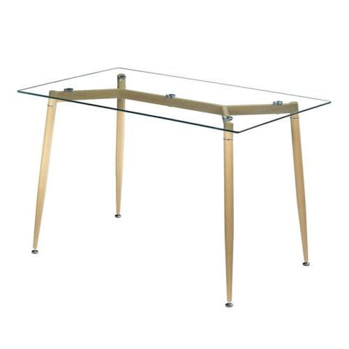 Mid Century Modern Style Tempered Glass Dining Table Set wai