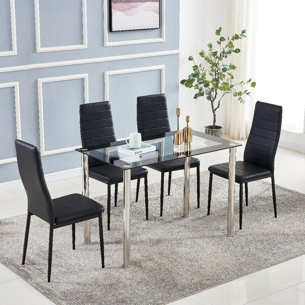 Set of Dining Room Set Metal Table 4 Chairs