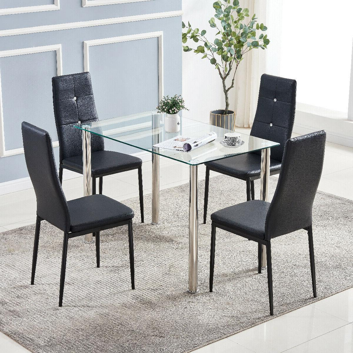 Set of Dining Metal Table Chairs Furniture