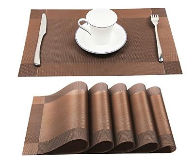 set of 6 vinyl brown place mat