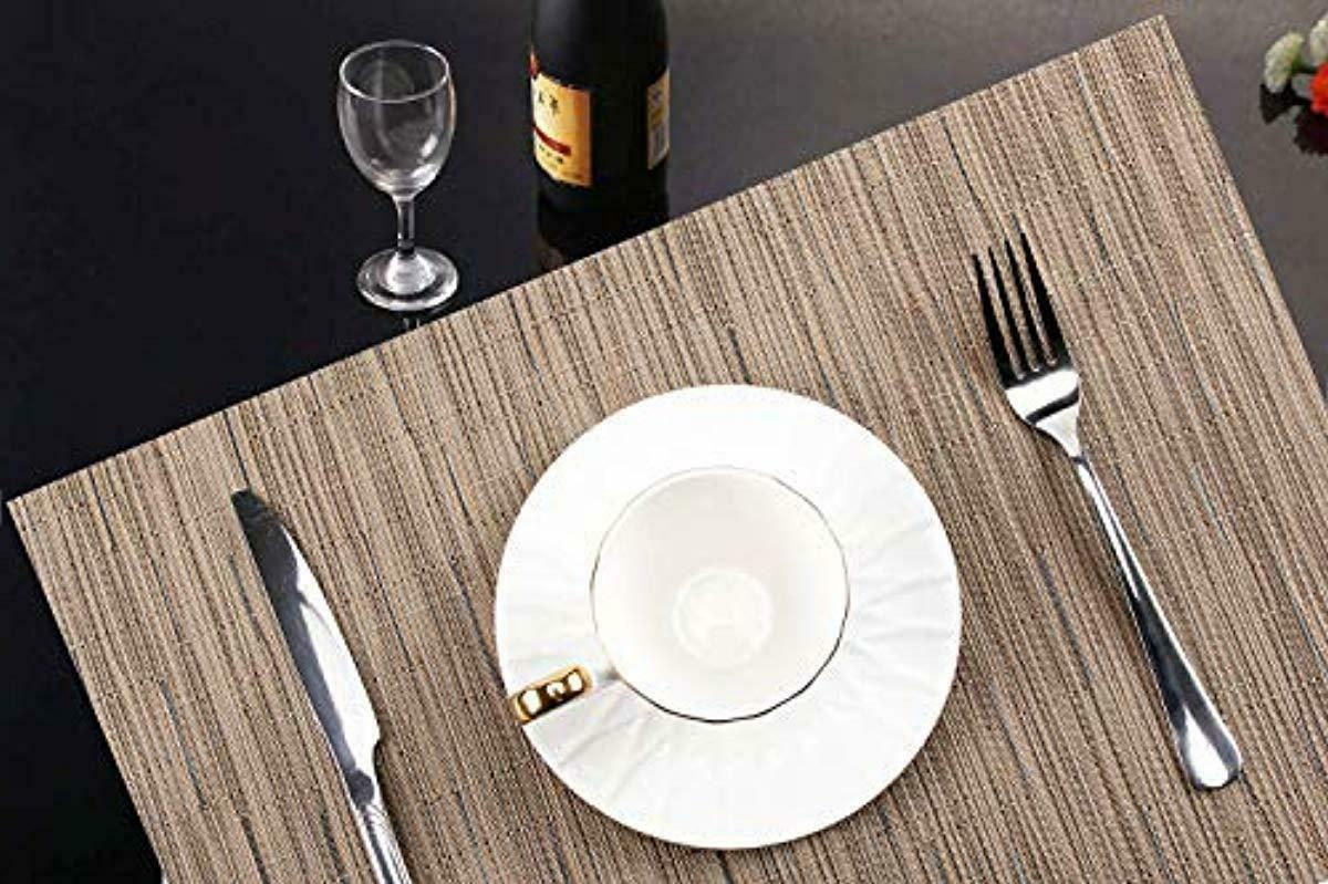 Set of 8 Placemats for Dining Table, Vinyl, 12 X 18""