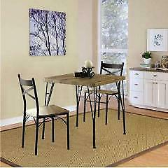 Benzara BM119853 Industrial Style 3 Piece Dining Table Set o