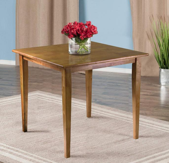 """Small Kitchen Dining Table Oak Wood Square Compact 30"""" Break"""
