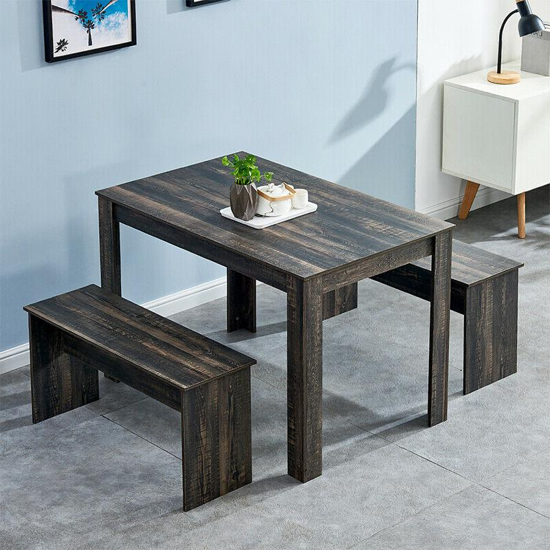 Modern Dining Sets Table and 2 Benches Chair Kitchen Furnitu